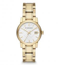 Burberry Gold White Dial Logo Watch
