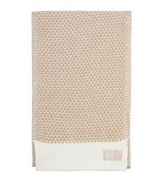 Calvin Klein Cream Textured Knit Lurex Scarf