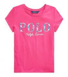 Ralph Lauren Girls College Pink Floral Logo T-Shirt