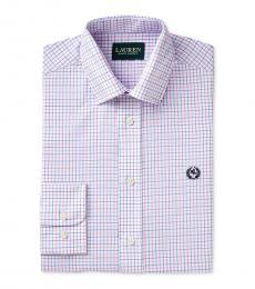 Boys Pink/Blue Check-Print Dress Shirt
