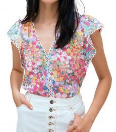 Kate Spade Multi Ruffled Floral Top