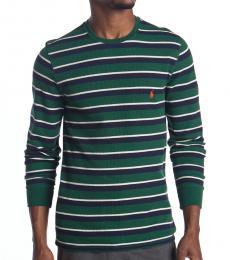 Ralph Lauren Green Stripe Waffle Knit Sweater