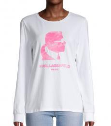Karl Lagerfeld White Pink Logo Long-Sleeve T-Shirt