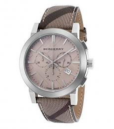 Burberry Dark Brown-Beige Chronograph Watch