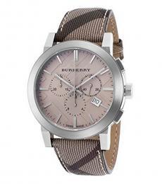 Burberry Dark Brown-Beige Chronograph Watch