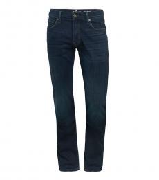 7 For All Mankind Dark Blue Standard Straight-Leg Jeans