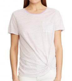 Ralph Lauren White Striped Side Tie T-Shirt