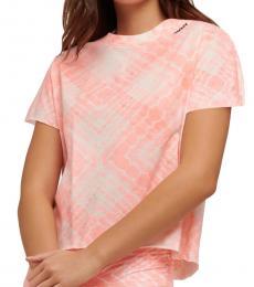 DKNY Pink Print Crop Tee