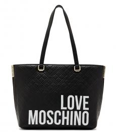 Love Moschino Black Quilted Logo Medium Tote