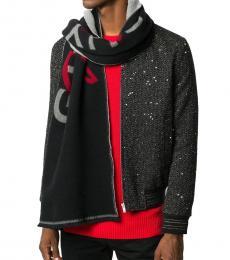 Givenchy Black Grey-Red Logo Scarf