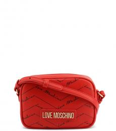 Love Moschino Red Signature Zip Small Crossbody