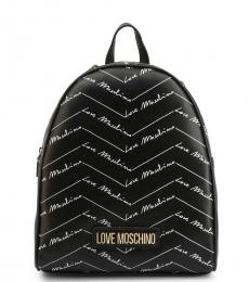 Love Moschino Black Signature Zip Medium Backpack