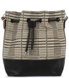 Black Patterned Small Bucket Bag