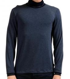 Blue Turtleneck Stretch Sweater