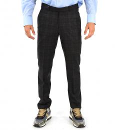 Dark Grey Wool Stretch Slim Fit Pants