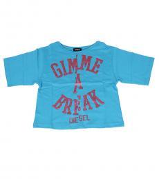 Girls Blue Graphic T-Shirt