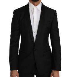 Black Wool Silk Gold Blazer