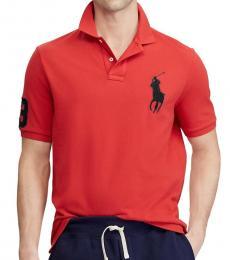 Ralph Lauren Red Black Custom Fit Big Pony Polo