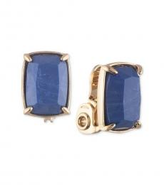 Gold-Blue Clip On Button Earrings