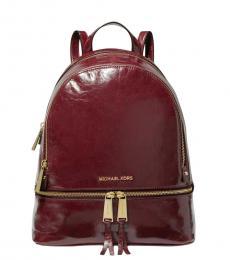 Michael Kors Oxblood Crinkled Rhea Medium Backpack
