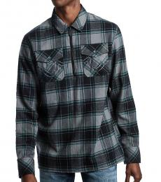 True Religion Grey Blue Zip Flannel Shirt