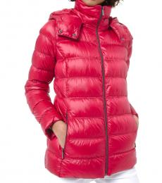 Michael Kors Red Quilted Packable Puffer Jacket