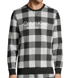 Calvin Klein Black Grey Plaid Stretch Sweatshirt