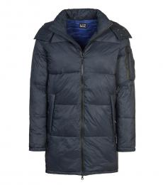 Emporio Armani Blue Solid Quilted Jacket