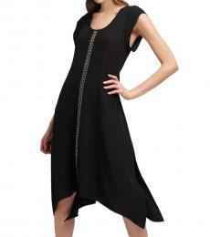 DKNY Black Studded Scoop-Neck Dress