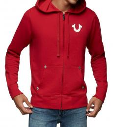 Red Buddha Logo Zip Up Hoodie