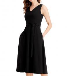 Black Embellished Belted Dress