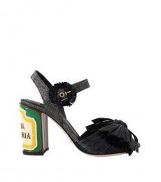 Black Antica Straw Heels