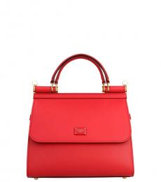 Dolce & Gabbana Red Sicily 58 Small Satchel