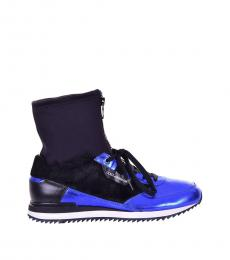 Black Blue Hi-Top Sneakers