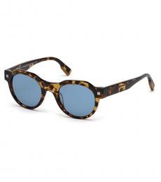 Ermenegildo Zegna Dark Havana-Blue Mirror Sunglasses