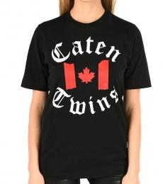 Black Printed Crewneck T-Shirt