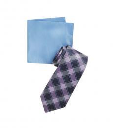 Michael Kors Purple Double Track Check Tie & Pocket Square Set