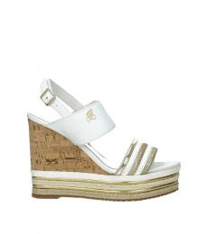 Hogan White Open Toe Wedges