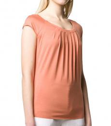 Emporio Armani Peach Pleated Short-Sleeve Top