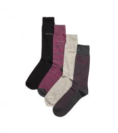 Multicolor 4-Pack Printed Crew Socks