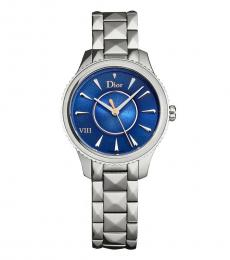 Christian Dior Silver Blue Dial Watch