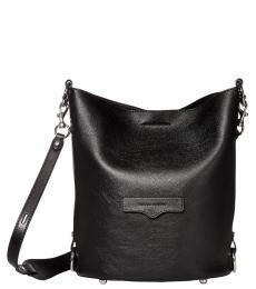Black Utility Convertible Large Bucket Bag