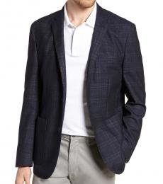 Vince Camuto Navy Blue Dell Aria Slim Fit Plaid Coat