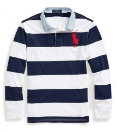 Boys Newport Navy Striped Rugby Polo