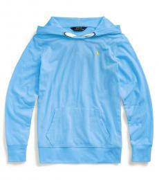 Ralph Lauren Girls Harbor Island Blue Stretch Jersey Hoodie
