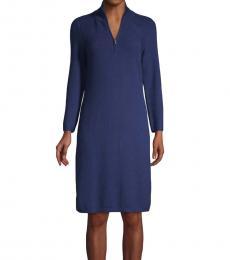 Tommy Bahama Navy Blue Textured Half-Zip Dress