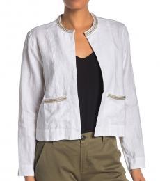 Tommy Bahama White Embellished Lux Linen Jacket