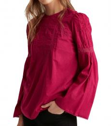 Bright Fuchsia Embroidered Bell-Sleeve Top