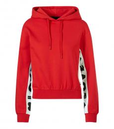 Love Moschino Red Hooded Logo Sweatshirt