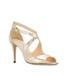Jimmy Choo Gold Emily Leather Heels